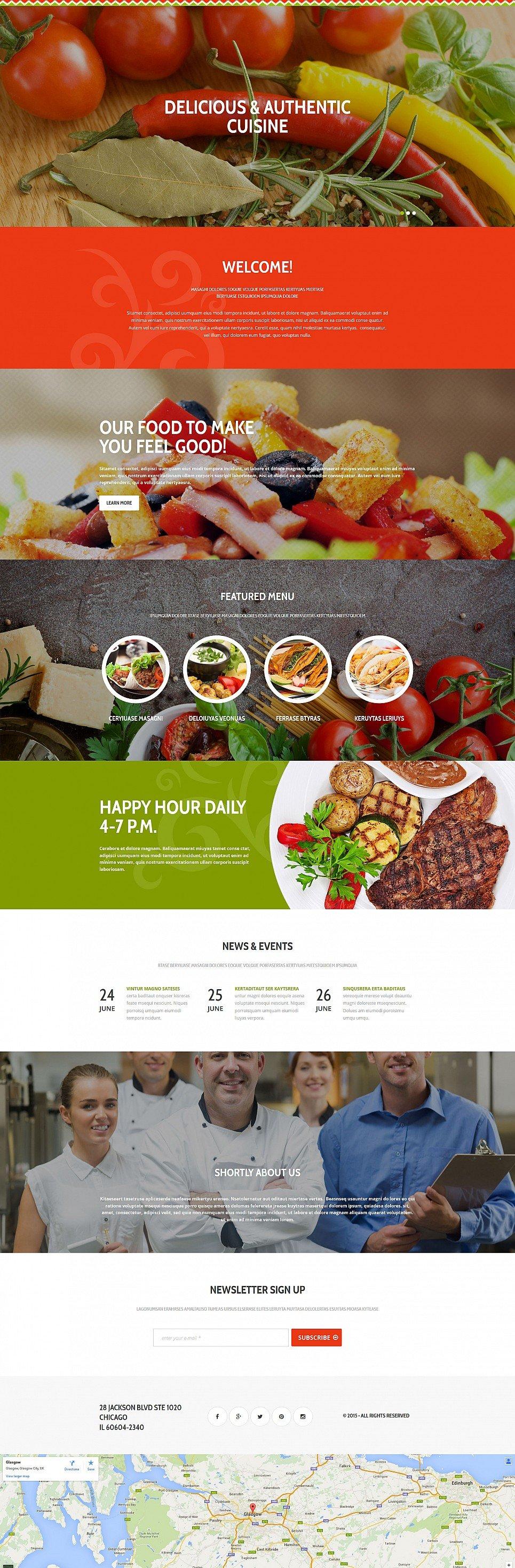 Tema de Sitio web de una página para el negocio de restaurantes - image