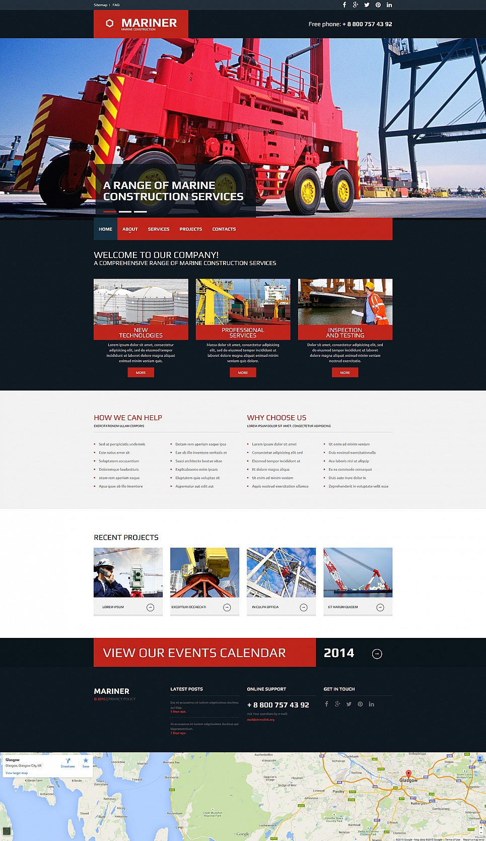 Red and black web template for heavy industry