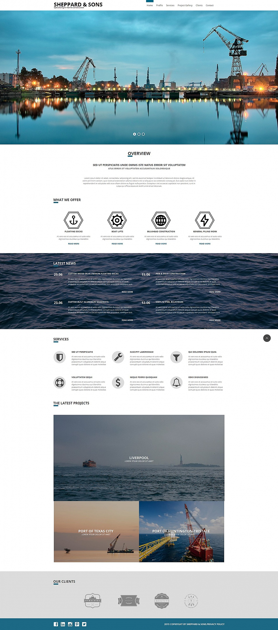 Website template for harbor
