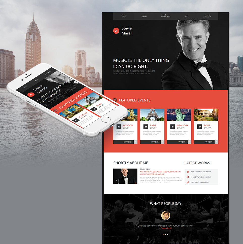 Musical performer site theme
