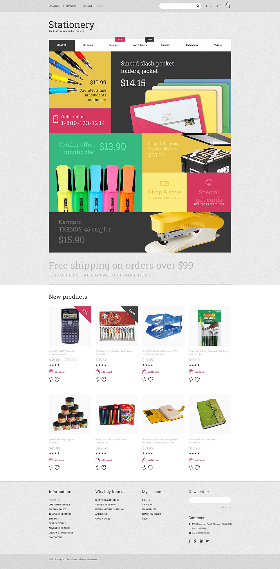 The Perfect Stationary Store Magento Theme