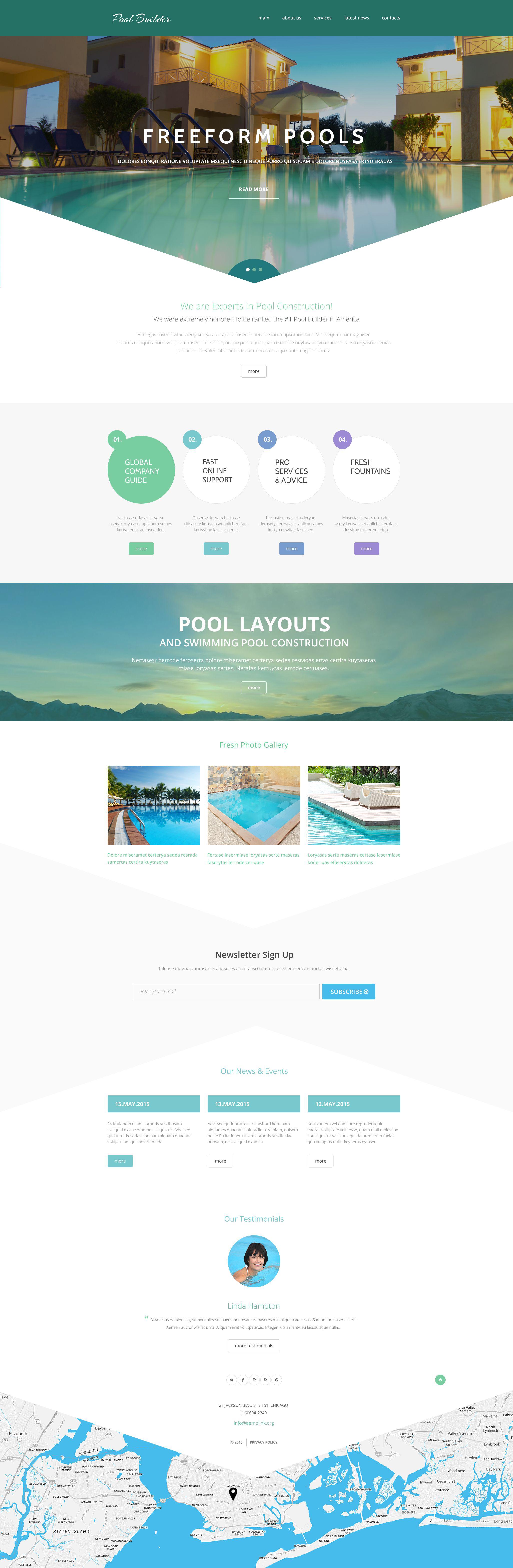 Modello siti web per un sito di pulizia piscine for Siti web di costruzione domestica
