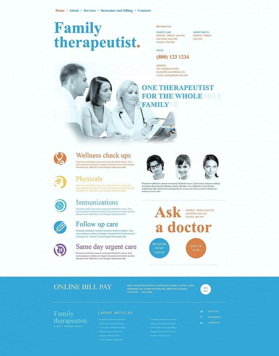 Private hospital site template