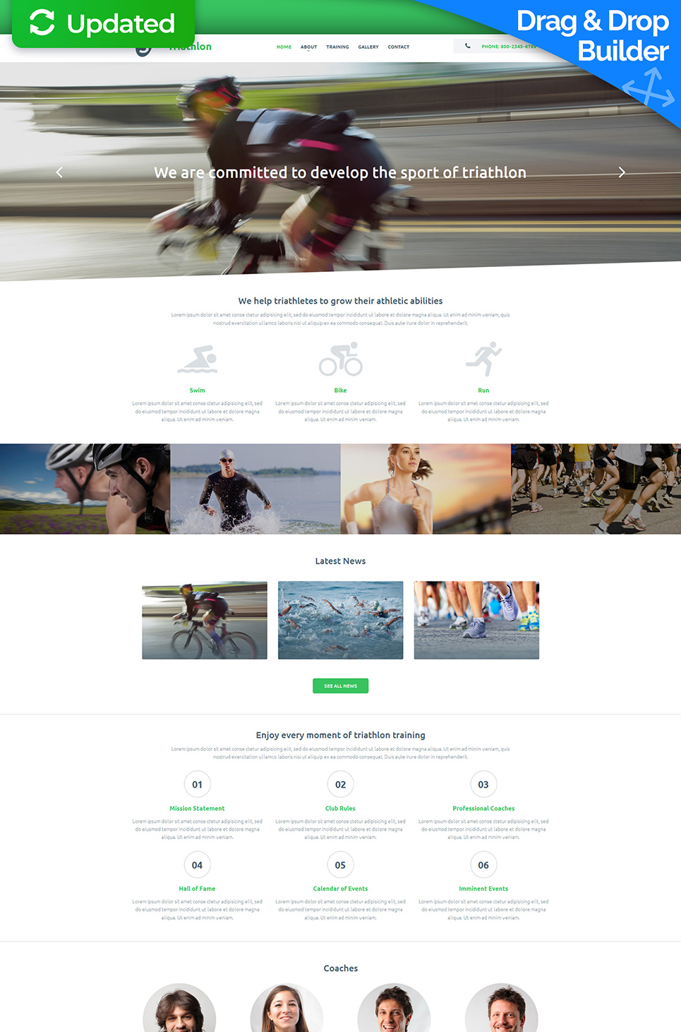Web design for triathlon athletes school