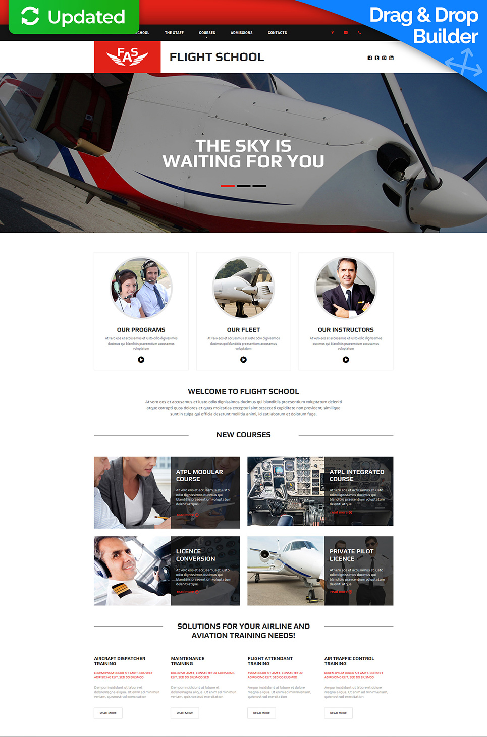 Responsive site for flying school