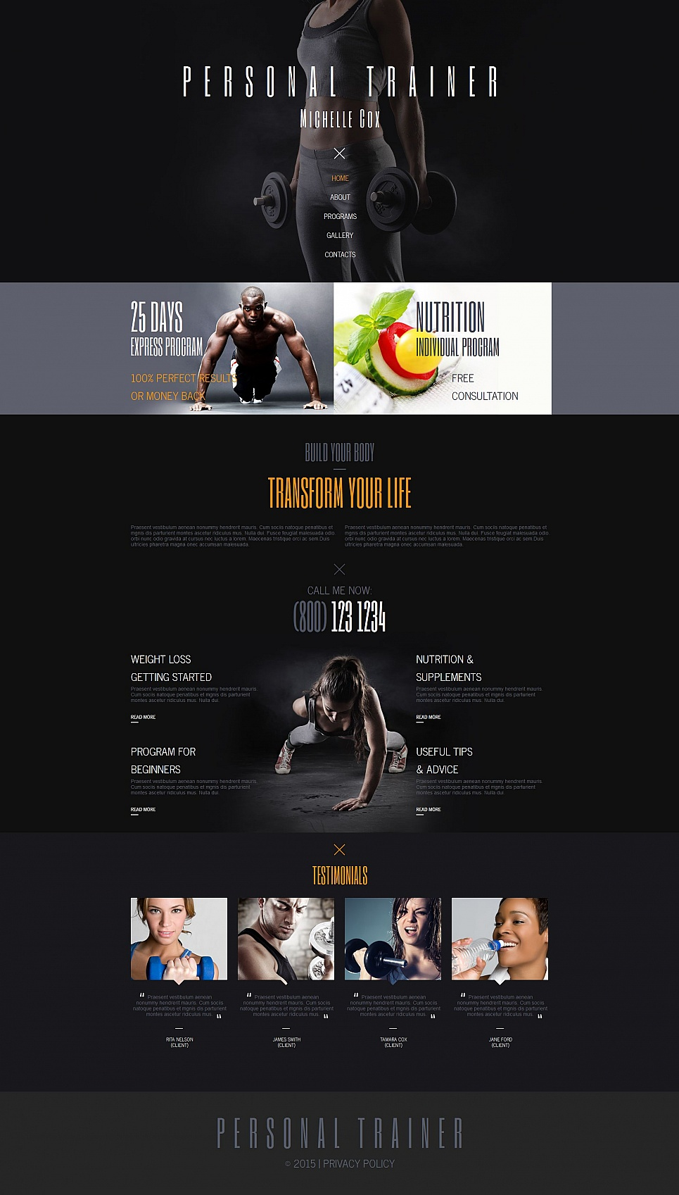 Fitness site theme