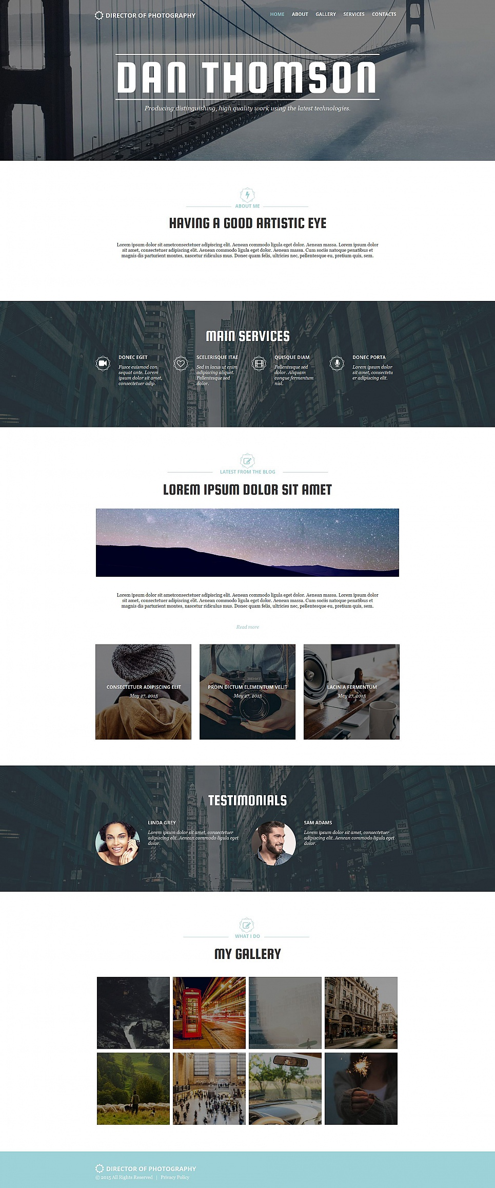 Photography web template with parallax