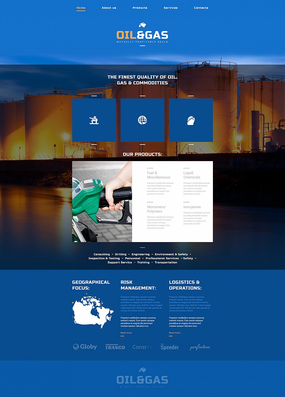Webseiten-Vorlage in blauen Tönen für ein Öl- und Gasunternehmen