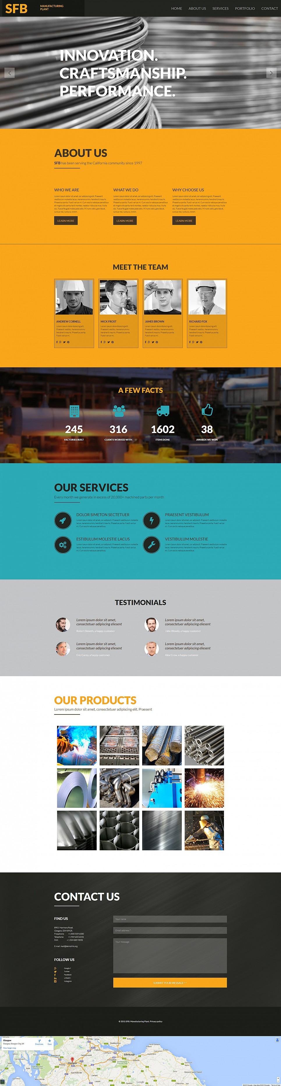 Benutzerfreundliche Webseiten-Vorlage für industrielle Zwecke