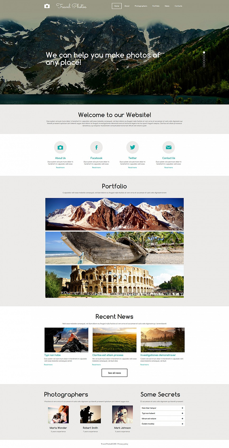 Traveling photography site template