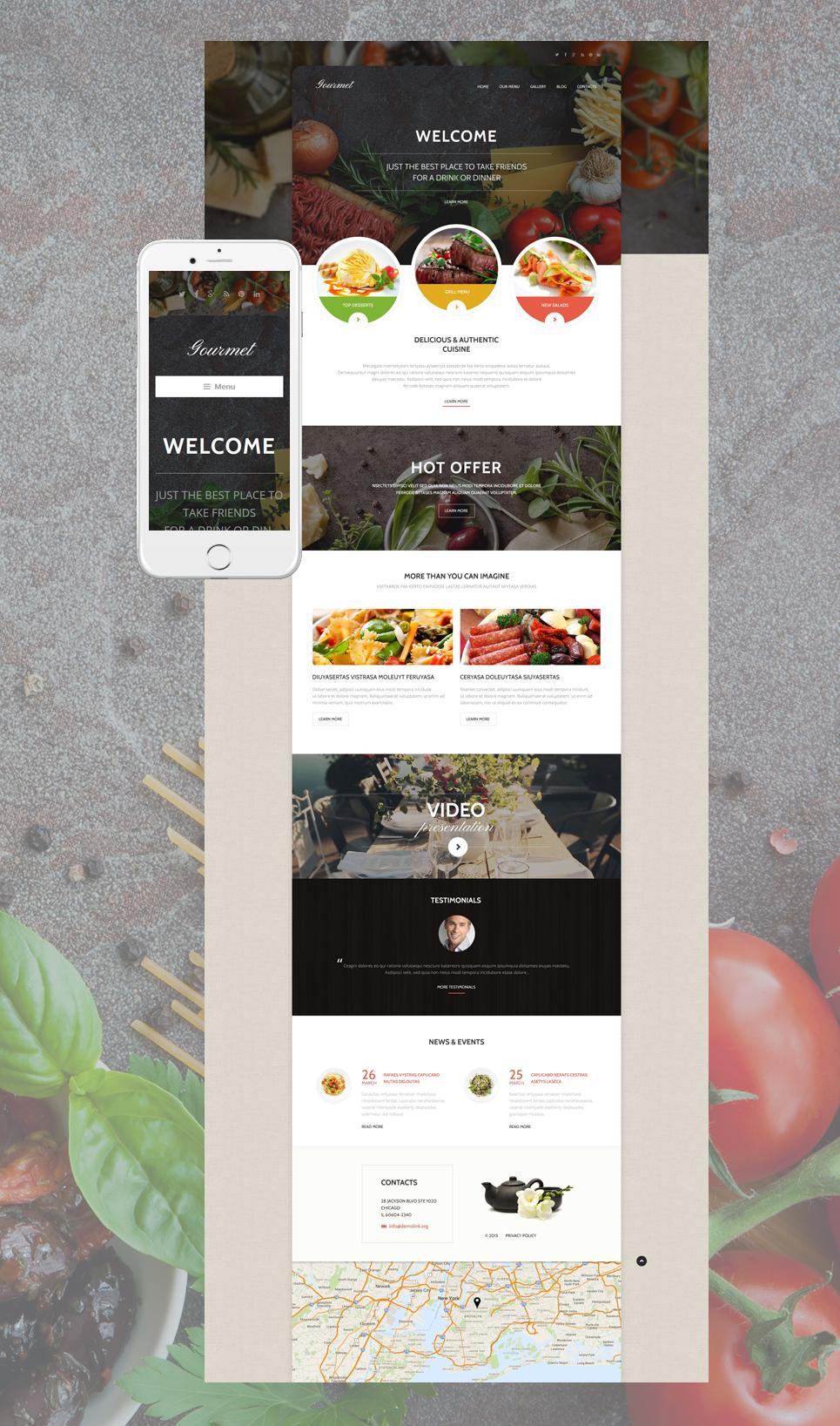 Gourmet - Responsive Cafe & Restaurant WordPress Theme