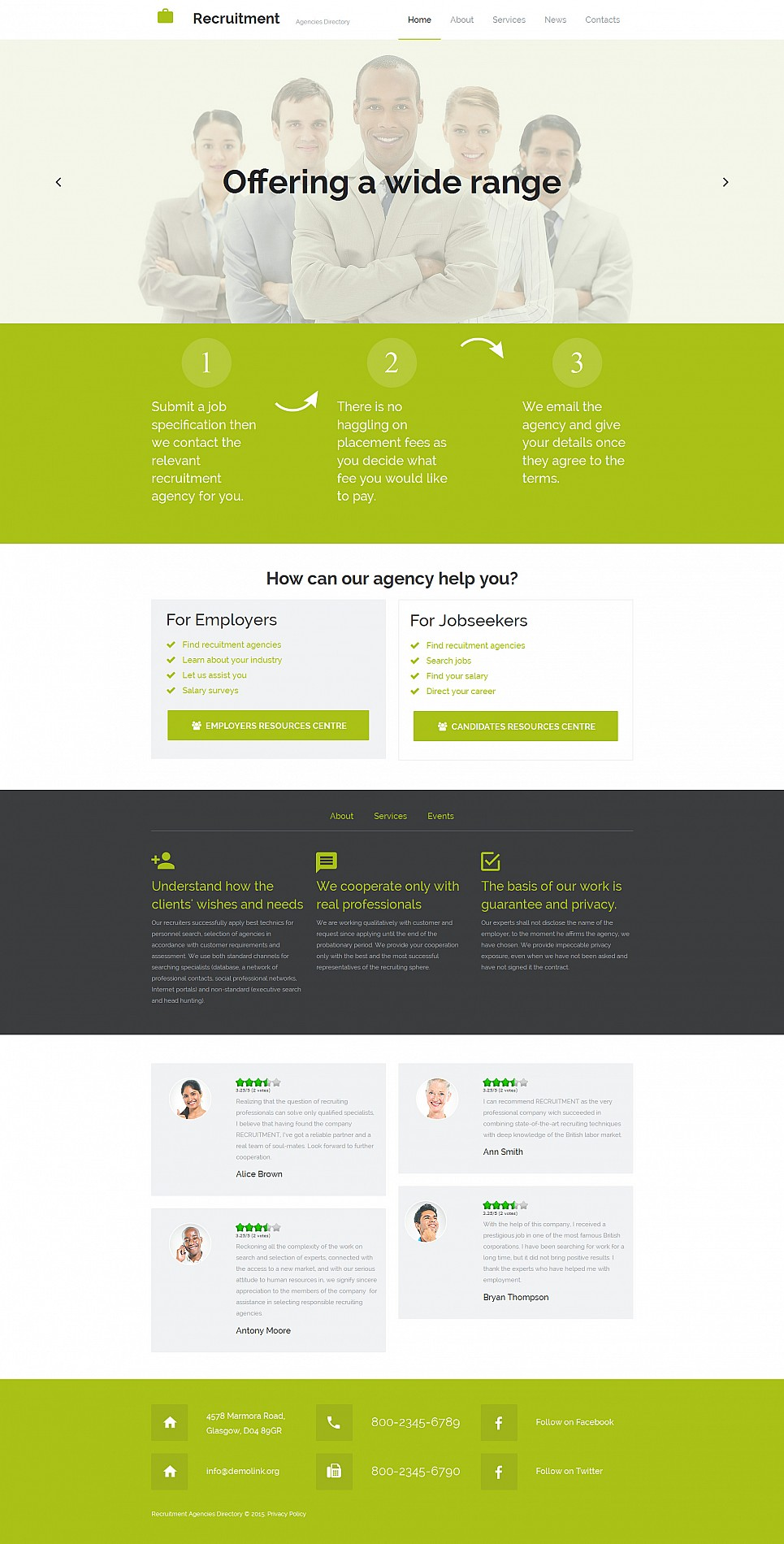 Responsive web theme for staffing company