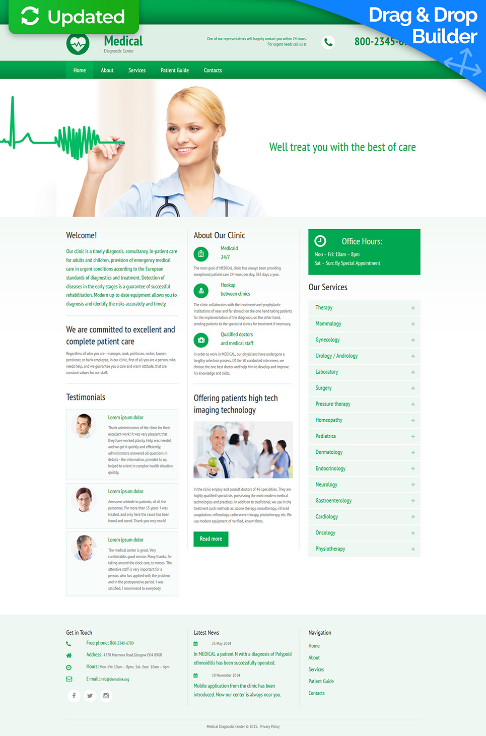 Responsive site for online clinic