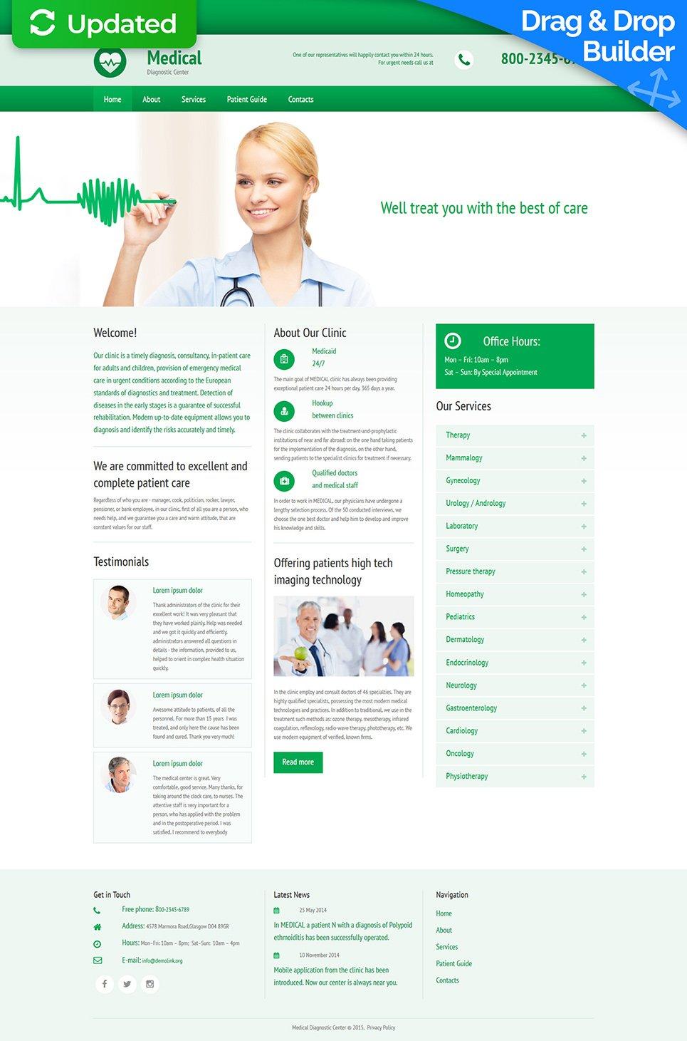 Plantilla de sitio web de medicina de diagnóstico - image