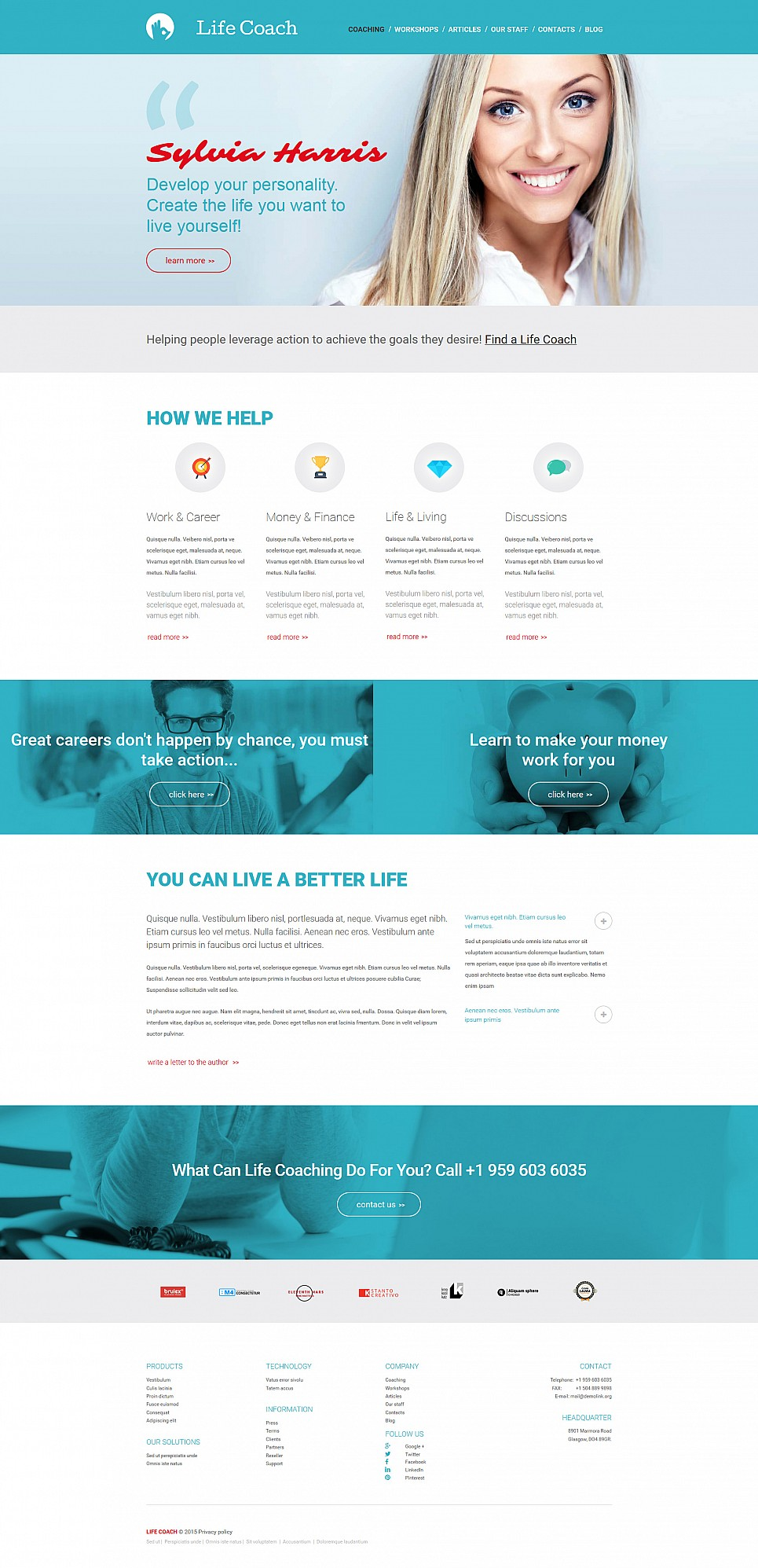 Blue design for coaching site