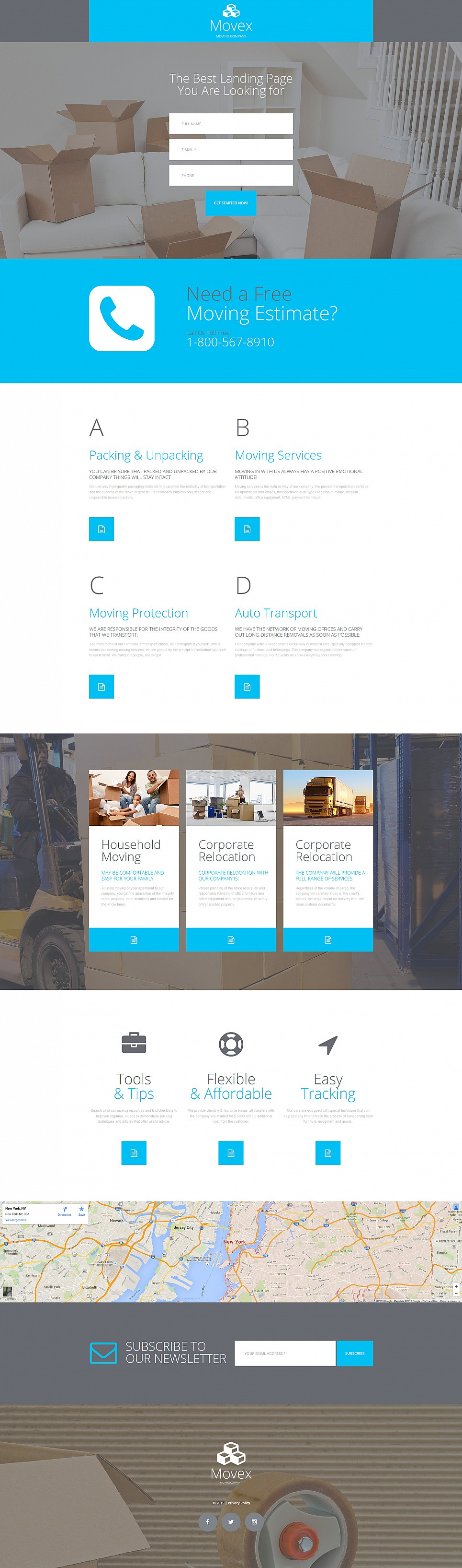 Blue and white design for courier website