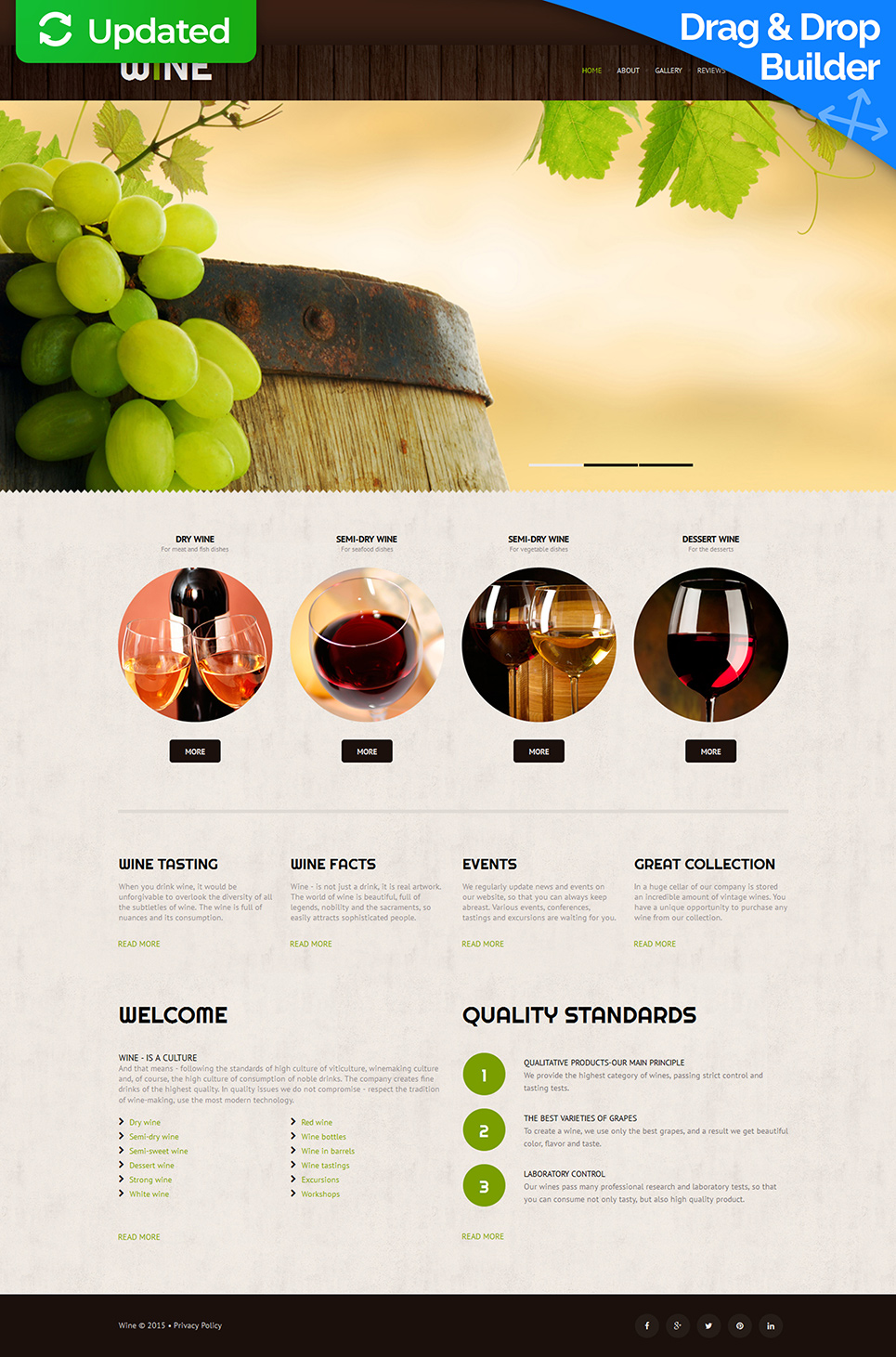 Responsive website for winery