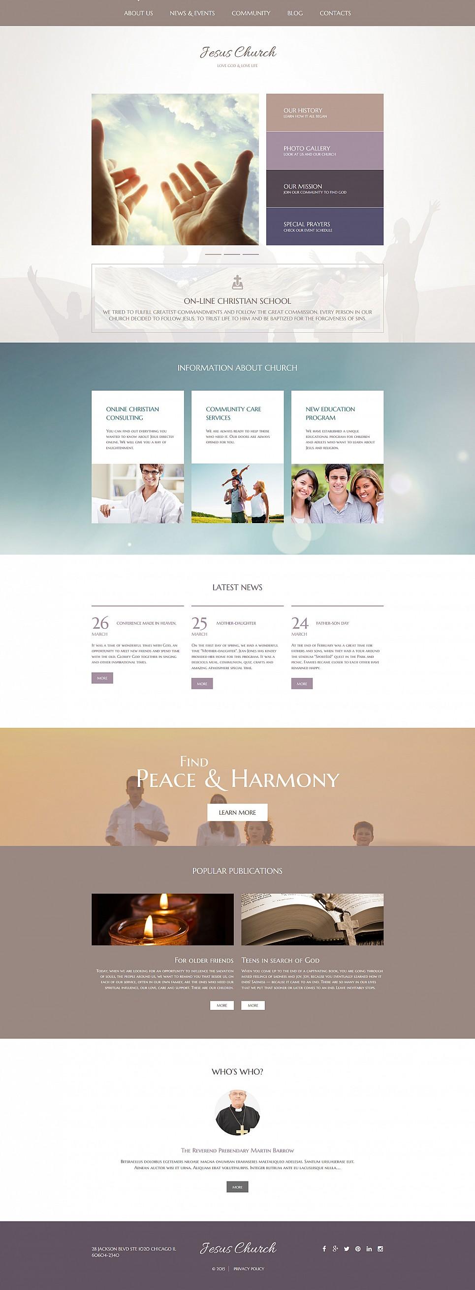 Moderne Website zum Thema Gottesdienst