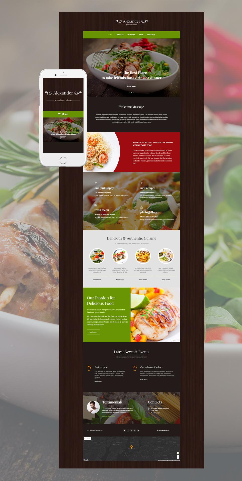 Alexander - Premium Cuisine Restaurant WordPress Theme