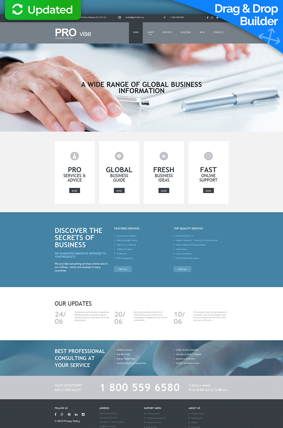Corporate website template with animation