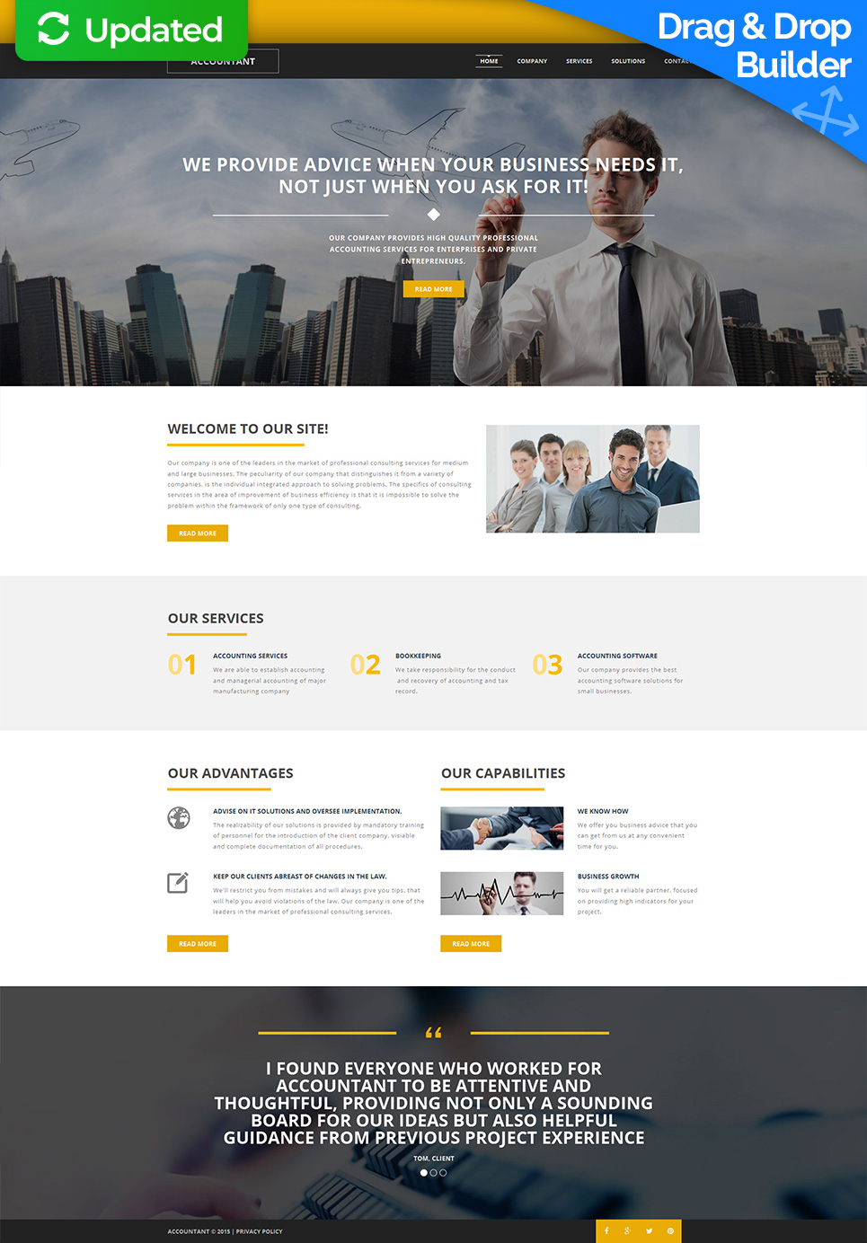 Accountant's site with sticky menu bar