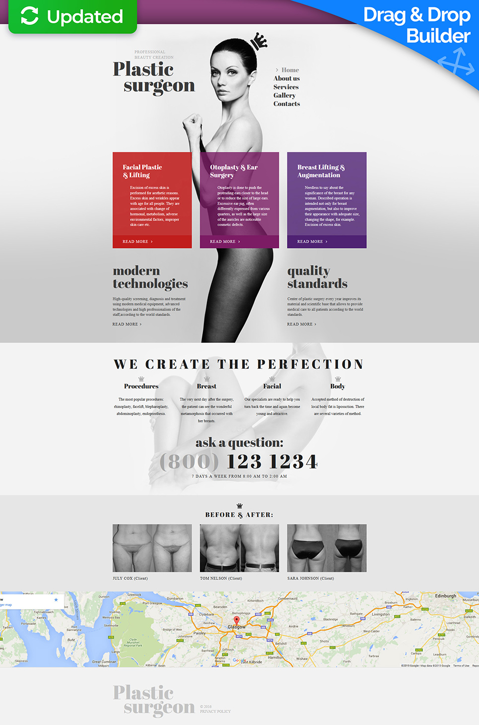 Grey site theme for plastic surgeons