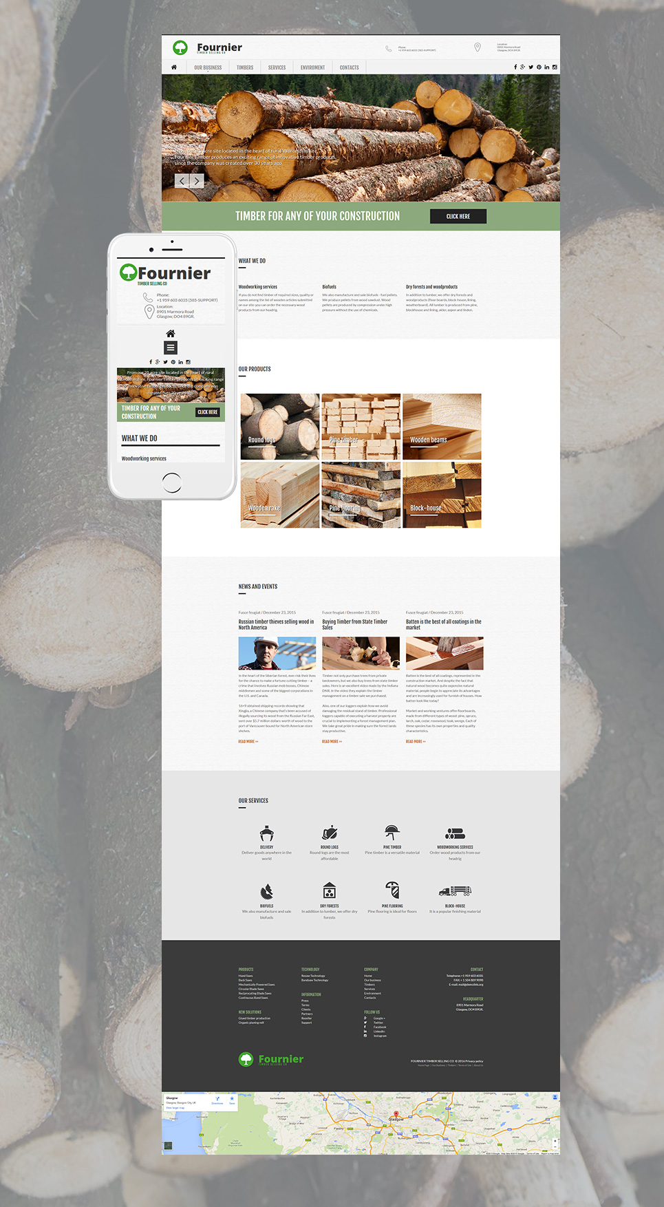 Site template for wood products sale