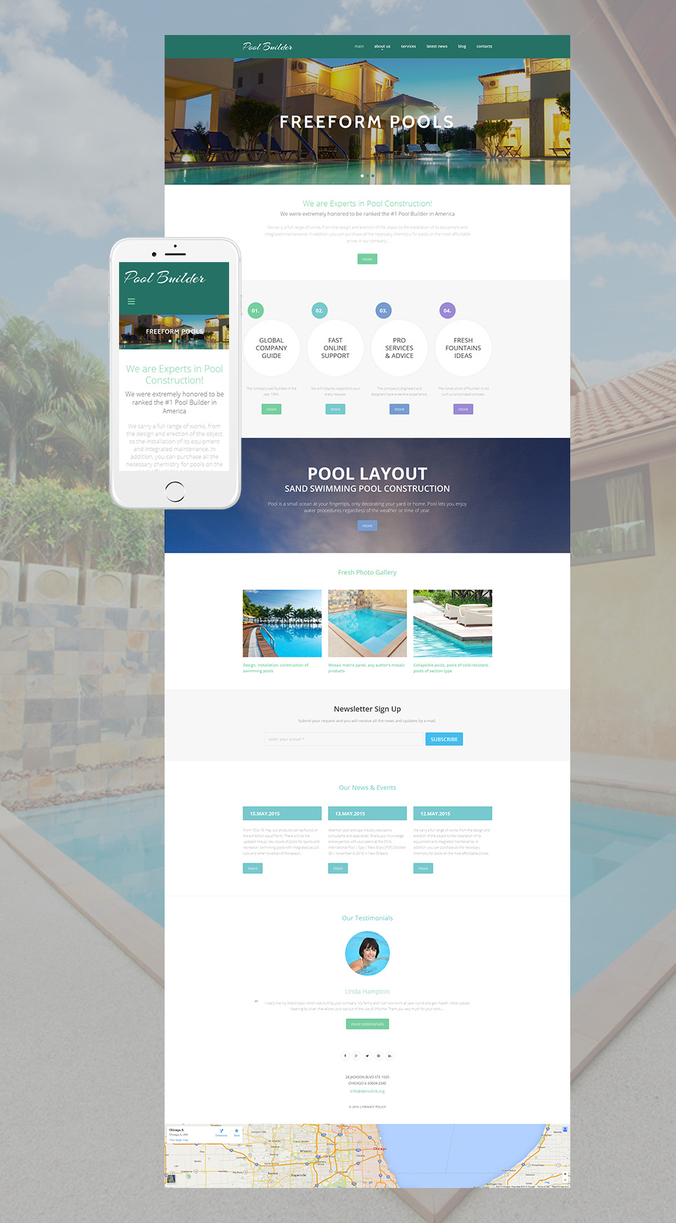 Responsive web template for exterior design agency
