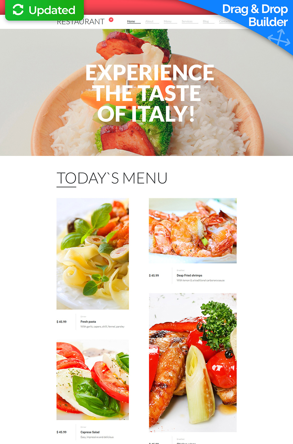 White template for restaurant's site
