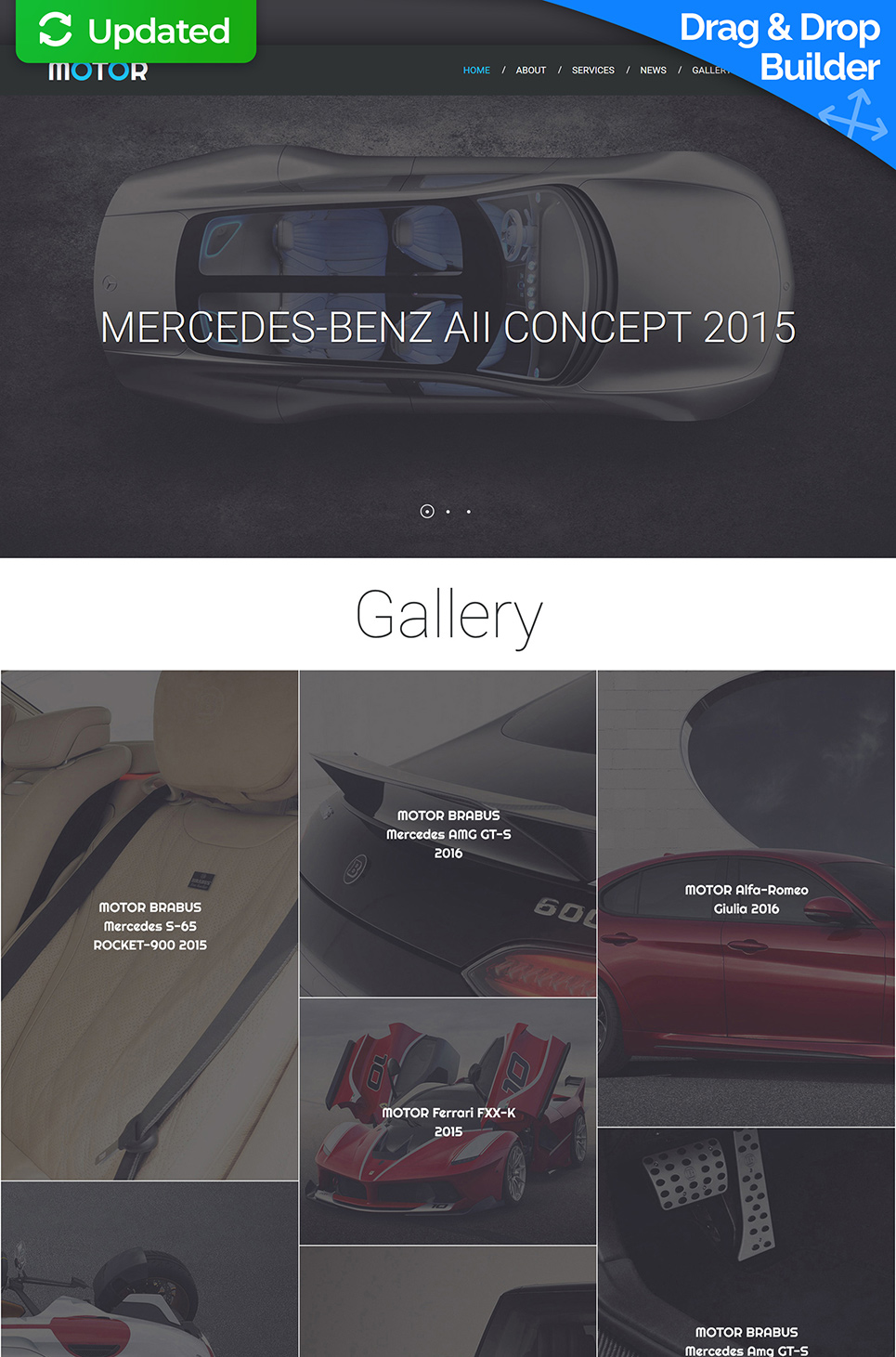 Automobile web theme with blog