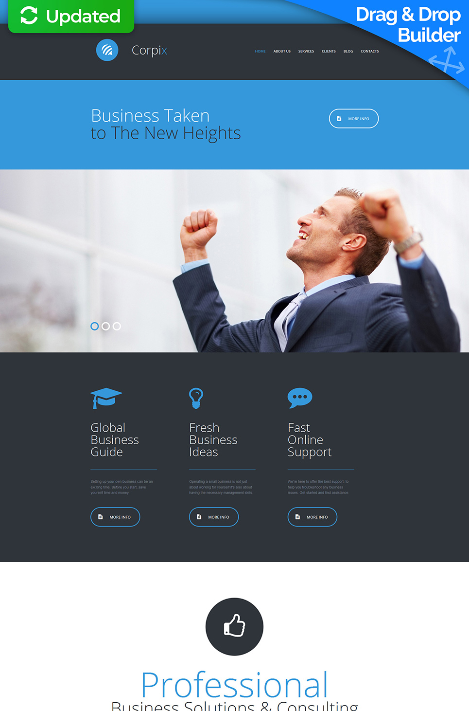 Black and blue web theme for businessmen