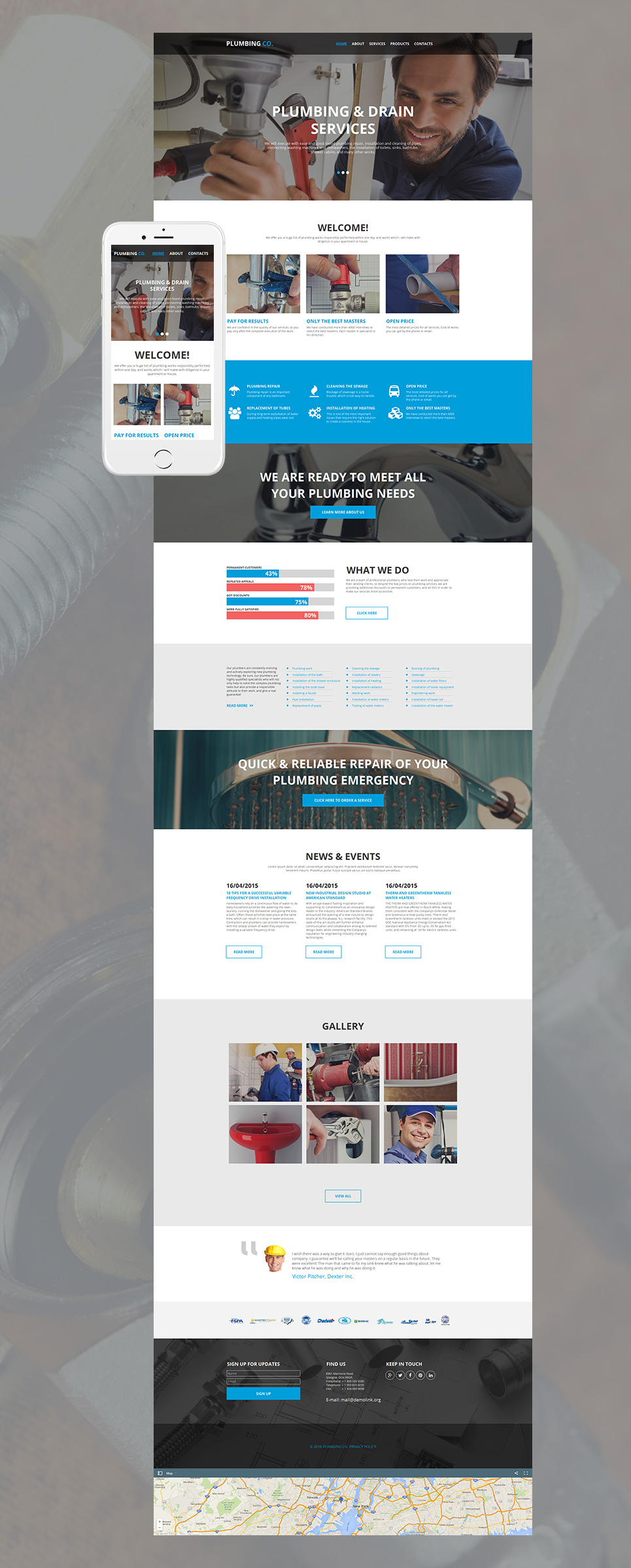Blue and white site template for plumbers