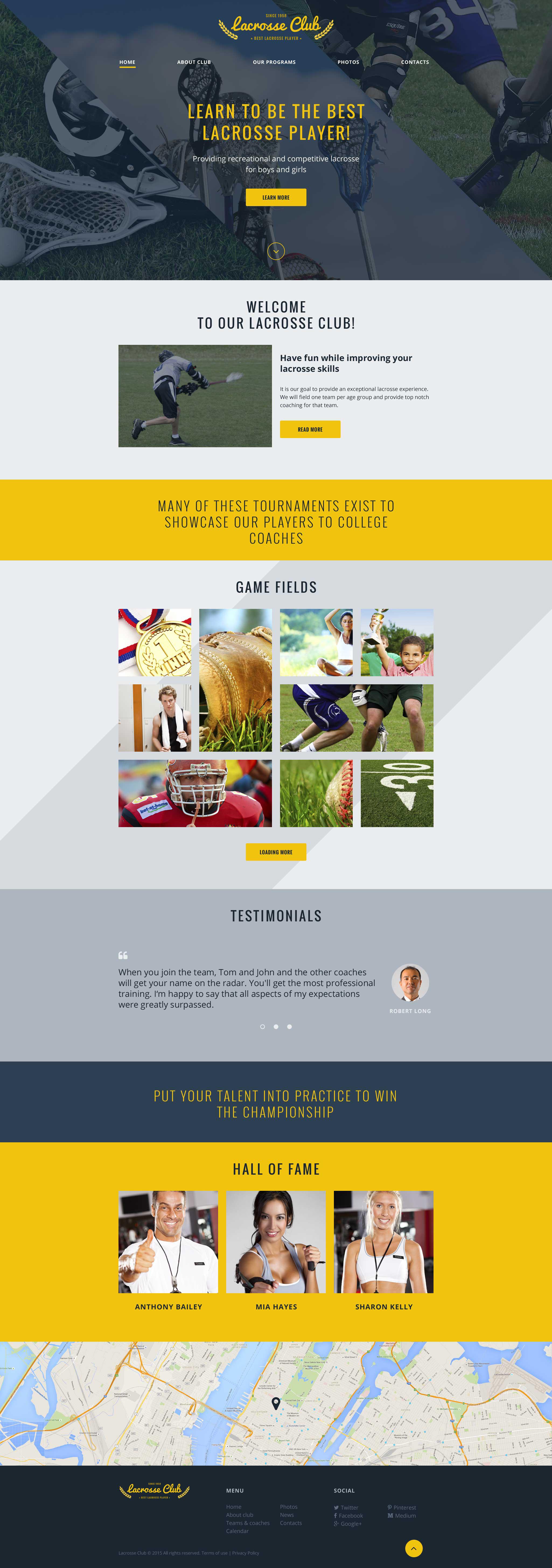 Modello siti web per un sito di sport for Siti web di costruzione domestica