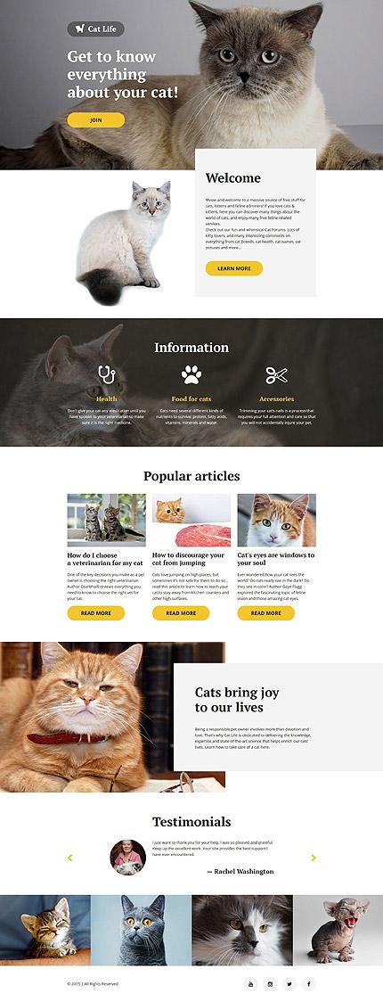 Скриншот лендинг сайта Cat Life на шаблоне TM 57676