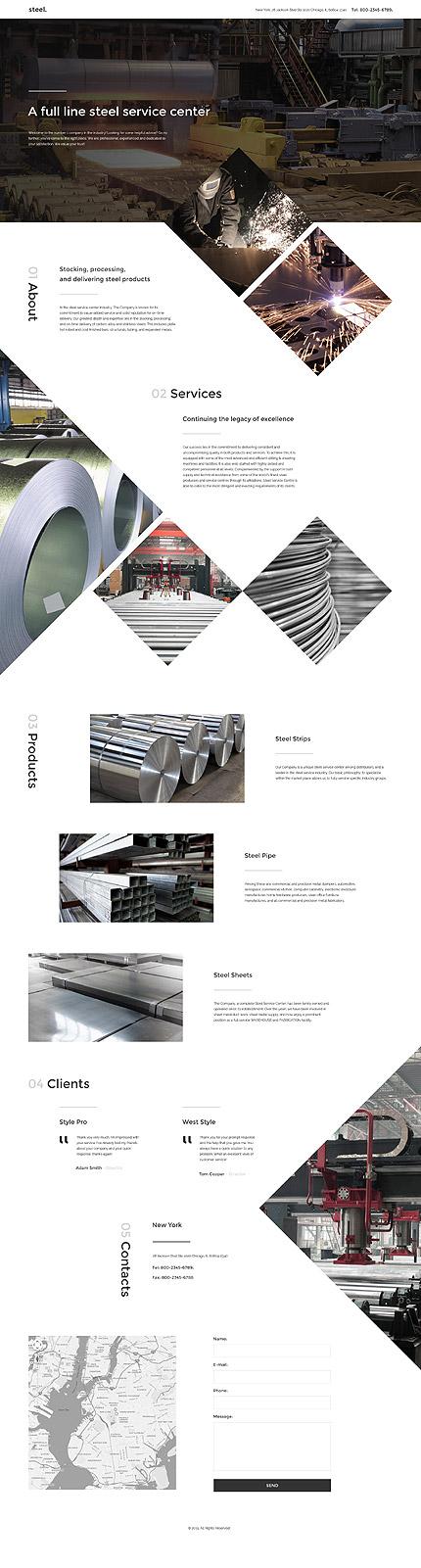 Скриншот лендинг сайта Steel на шаблоне TM 57716