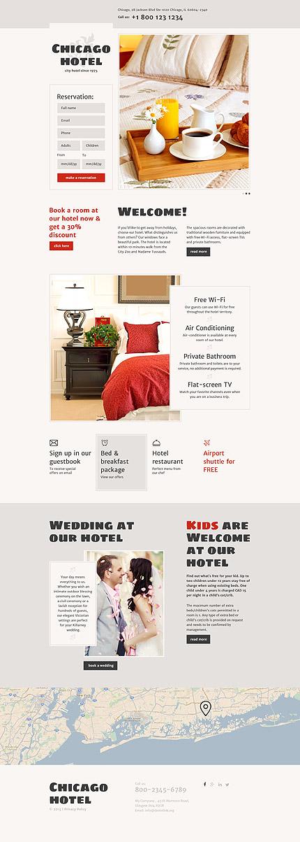 Скриншот лендинг сайта Chicago Hotel на шаблоне TM 57995