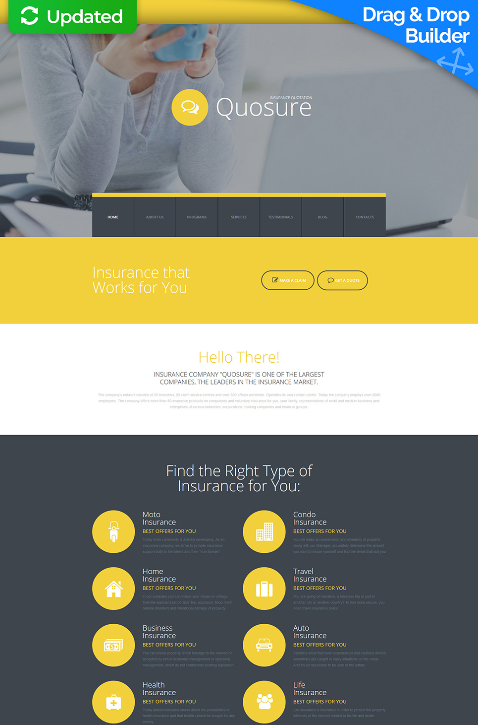 Business site theme with blog