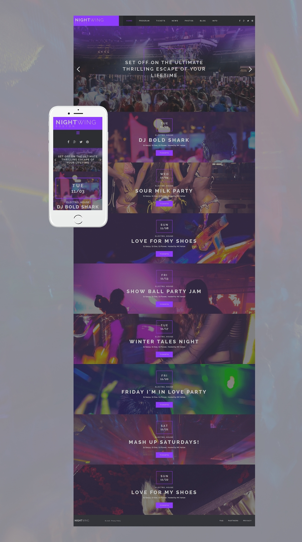 Responsive theme for night club site