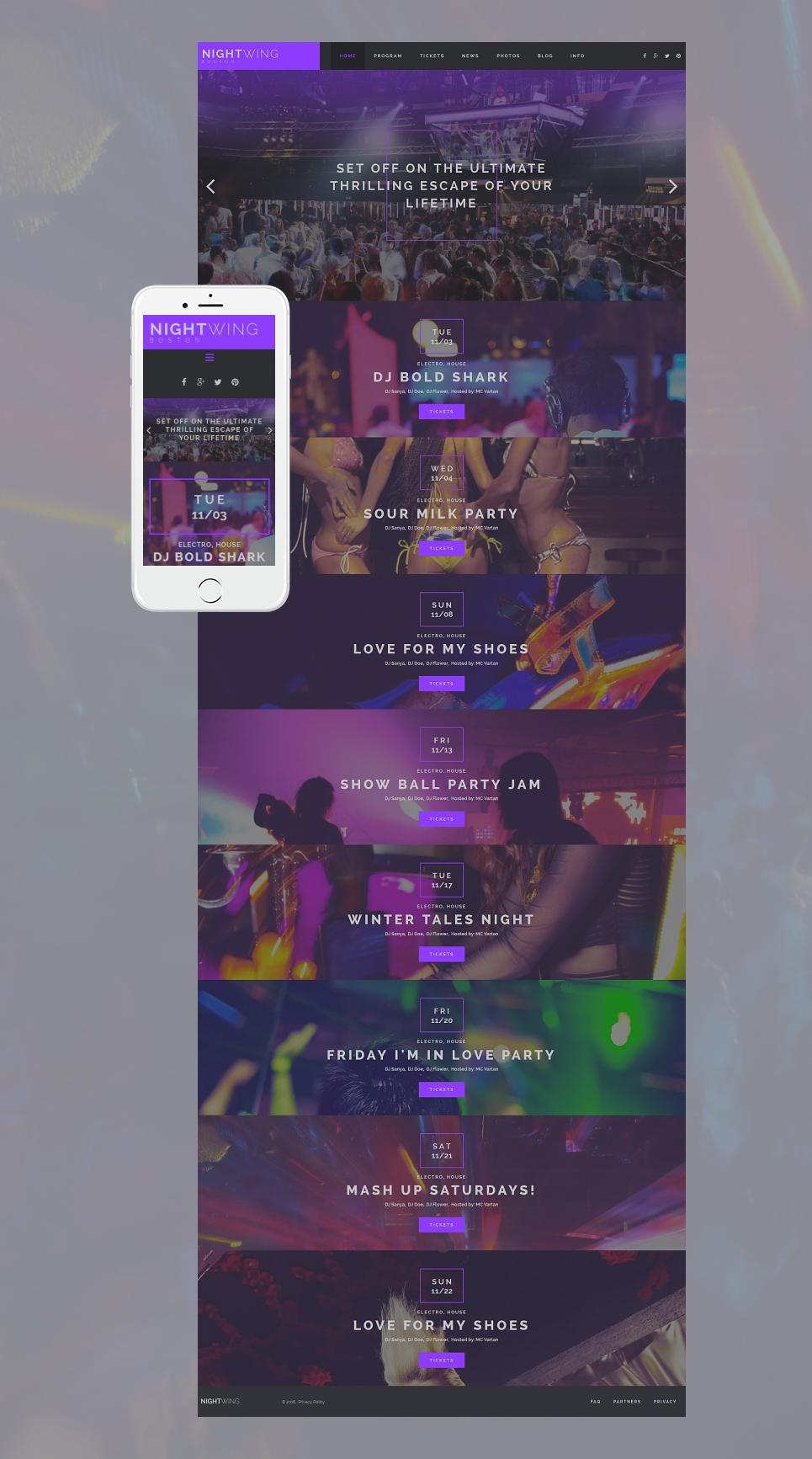 Sitio web en color lila con paralaje para una discoteca de noche - image