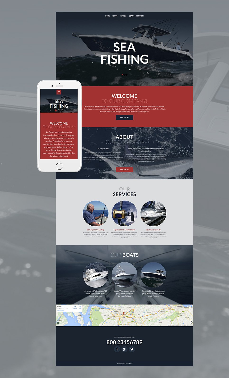 Fishing site template with parallax