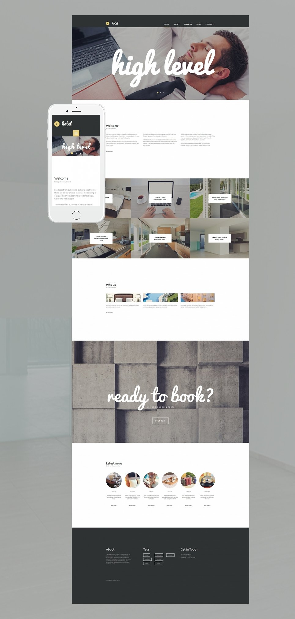 Hostel site template with grid gallery
