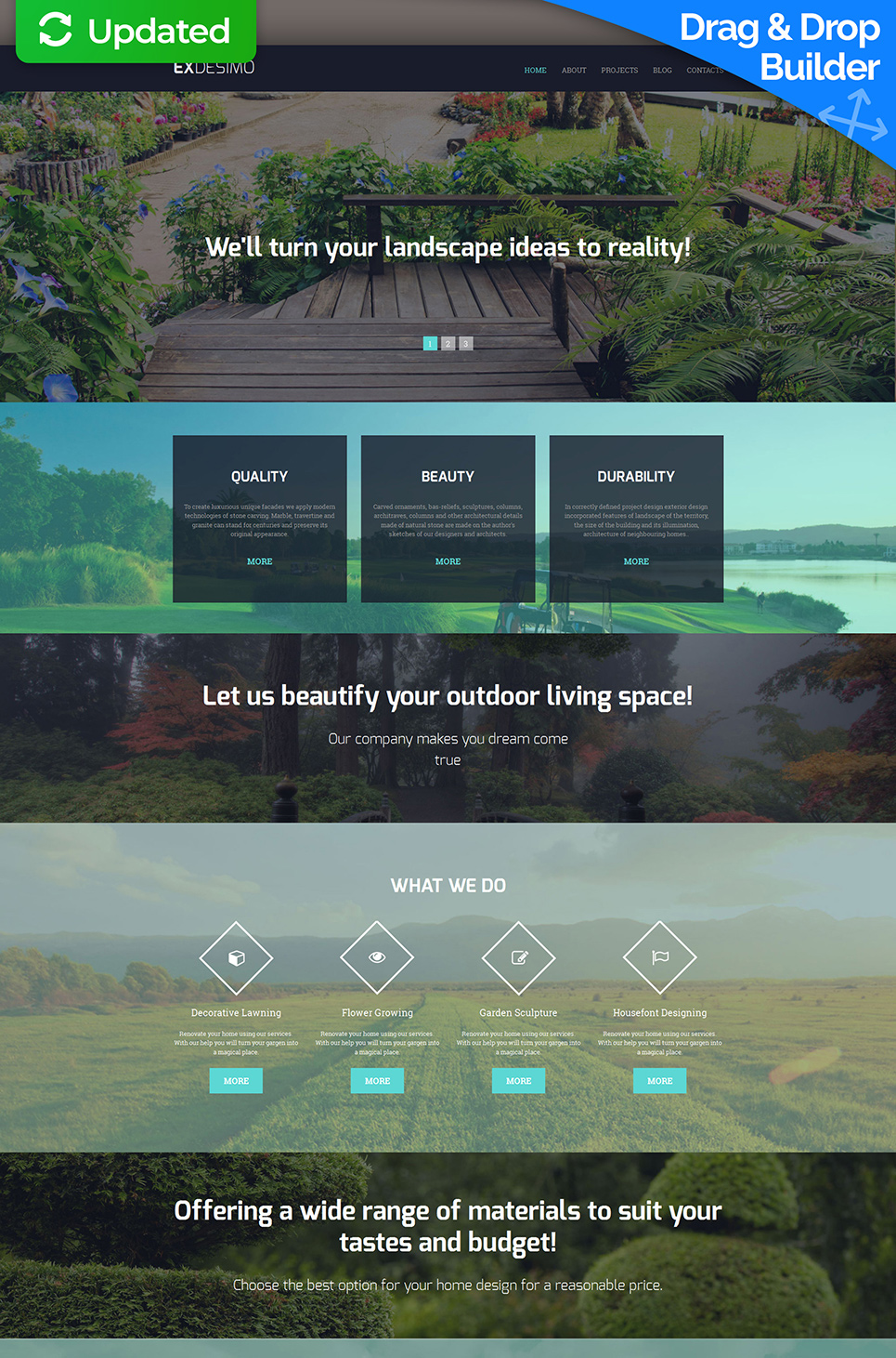 Professional site for designers with photo background