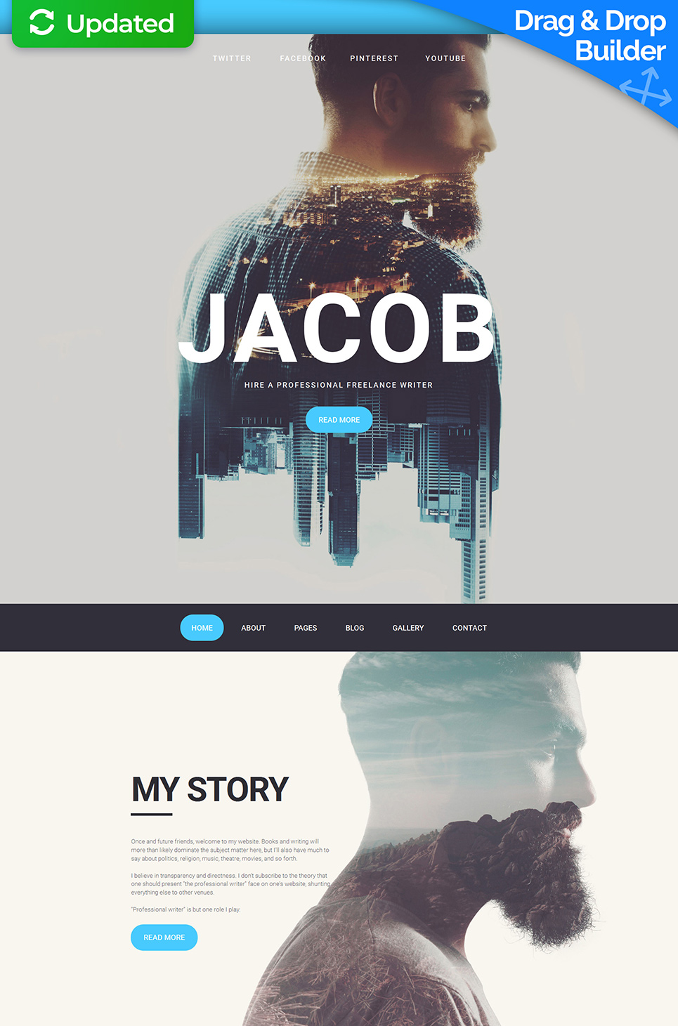 Photography website template with parallax