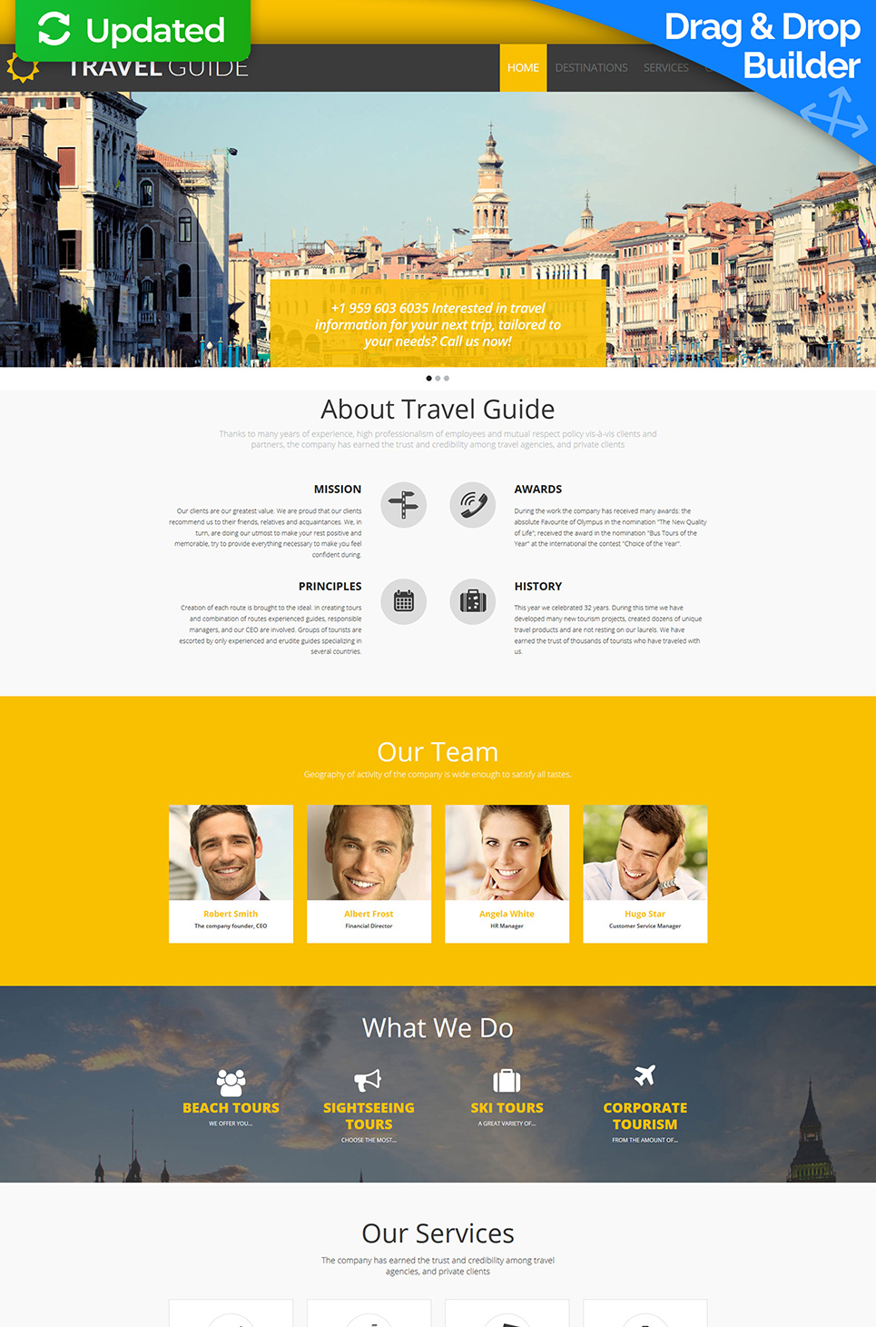 Yellow traveling site theme