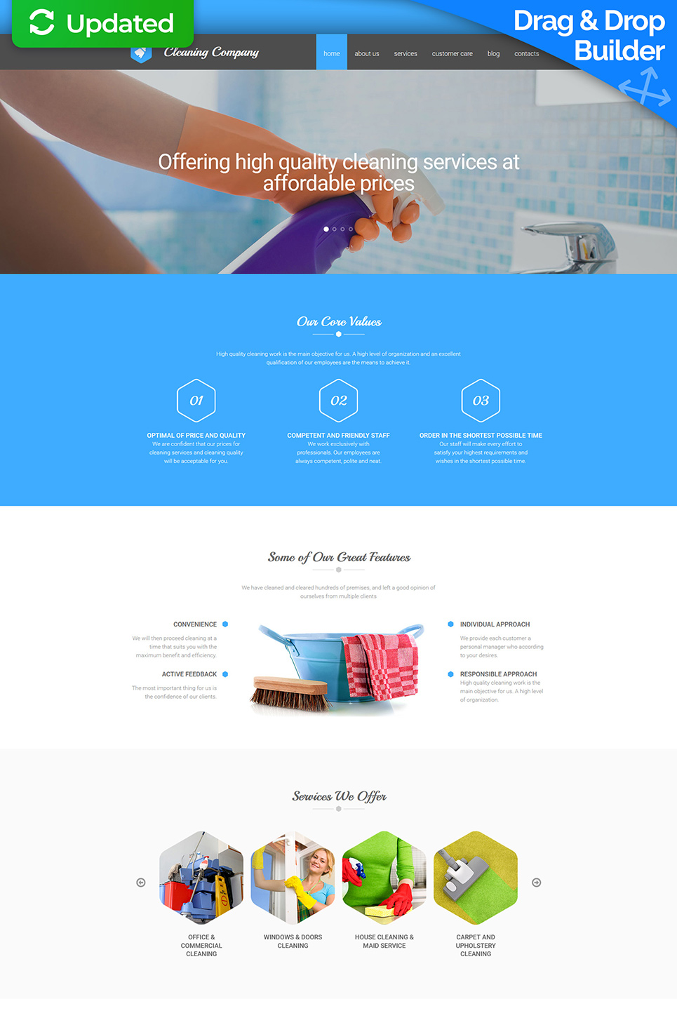 Responsive site theme for maid services