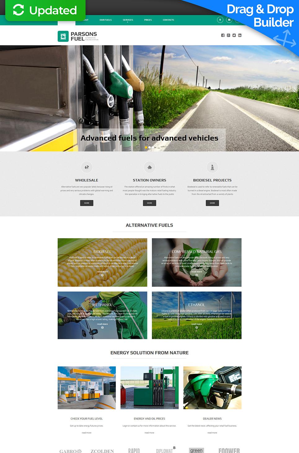 Oil company site with sticky menu