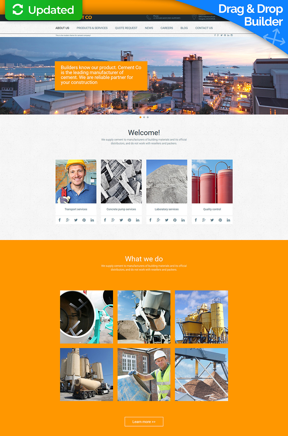 Industrial web design with sticky menu bar