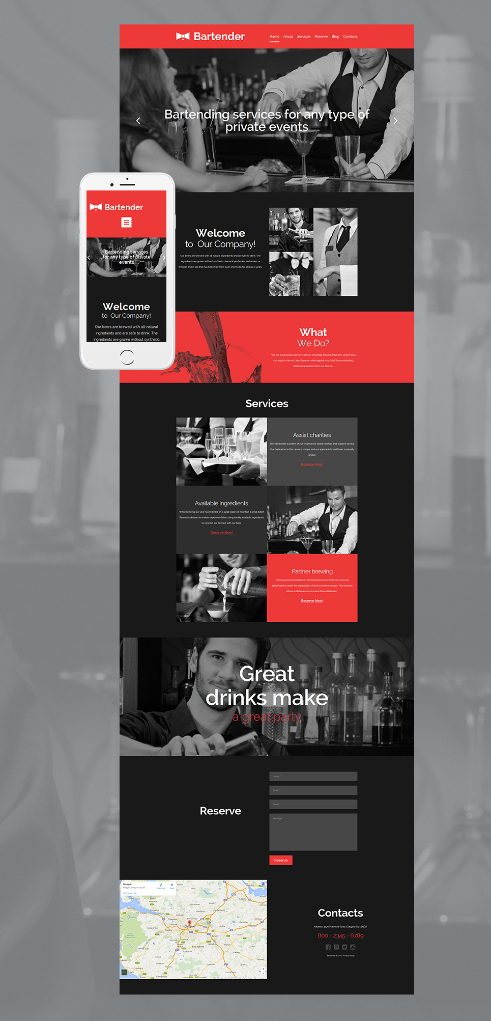 Tema de sitio web negro para una Sala de bar - image