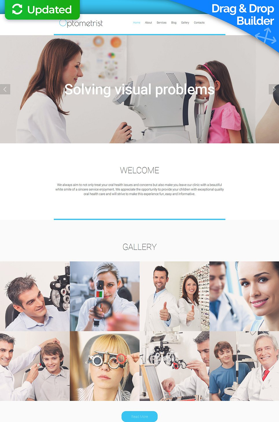 White template for optometrist site