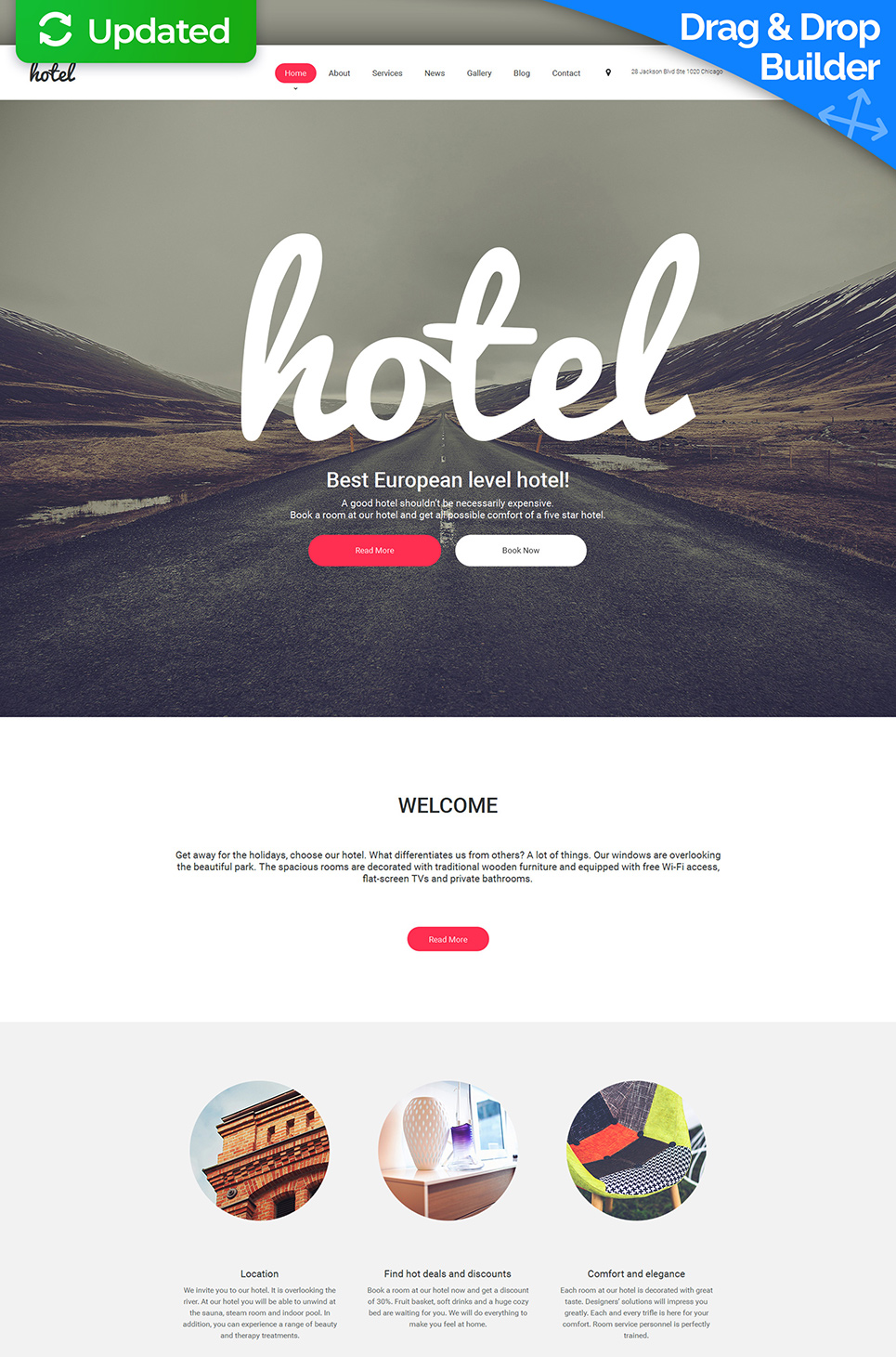 Responsive web template for hospitality